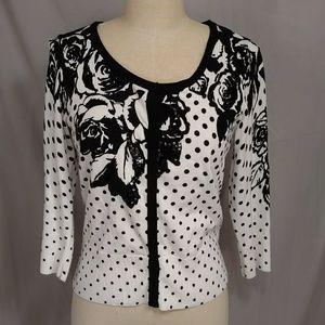 WHBM Cardigan Sumner Weight Sweater Black & White